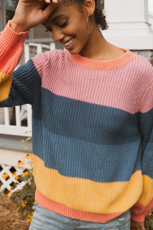 Striped Color-block Knit Sweater