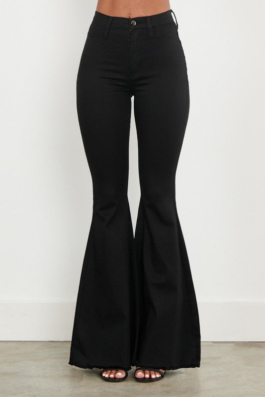 Black High Rise Super Flare Bell Bottom Jeans