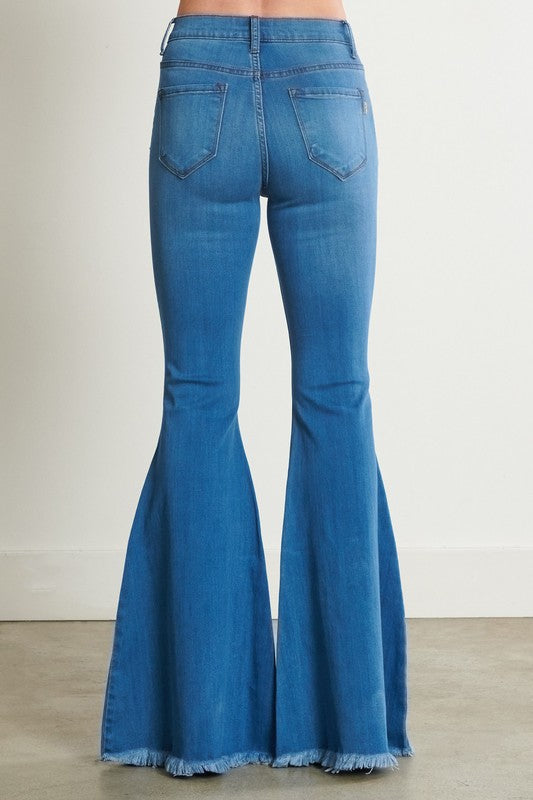 High Rise Bell Bottom Flare Jeans Medium Wash