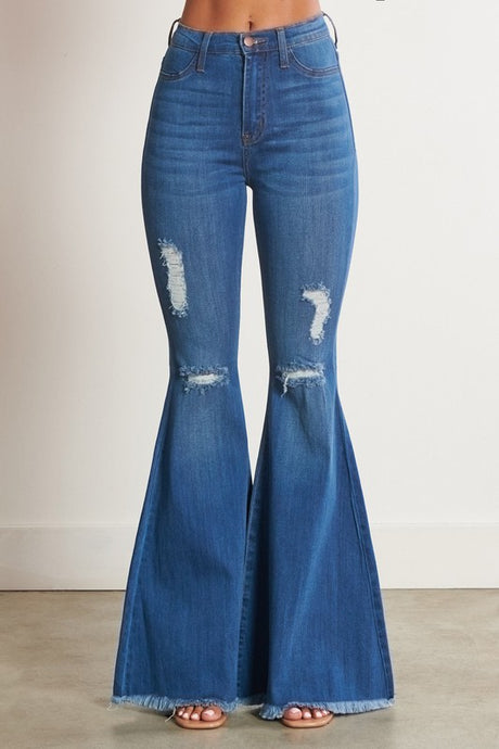 High Rise Distressed Bell Bottom Flare Jeans