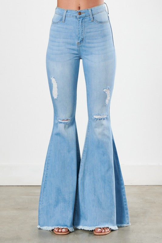 High Rise Bell Bottom Flare Jeans Light