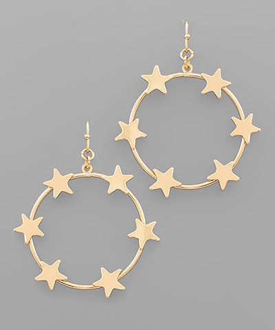 Star Circle Drop Earrings