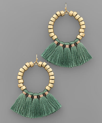 Thread Tassel Metal Bead Earrings