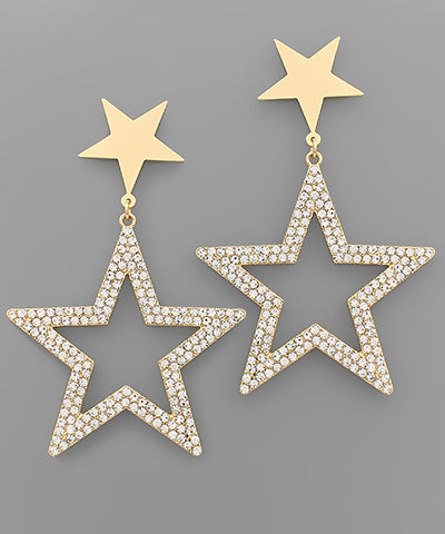 Crystal Star Dangle Earrings