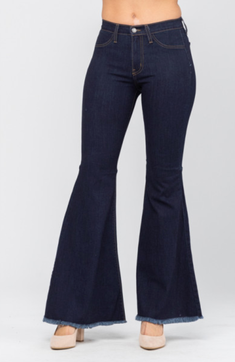 Dark Wash High Rise Super Flare Bell Bottom Jeans