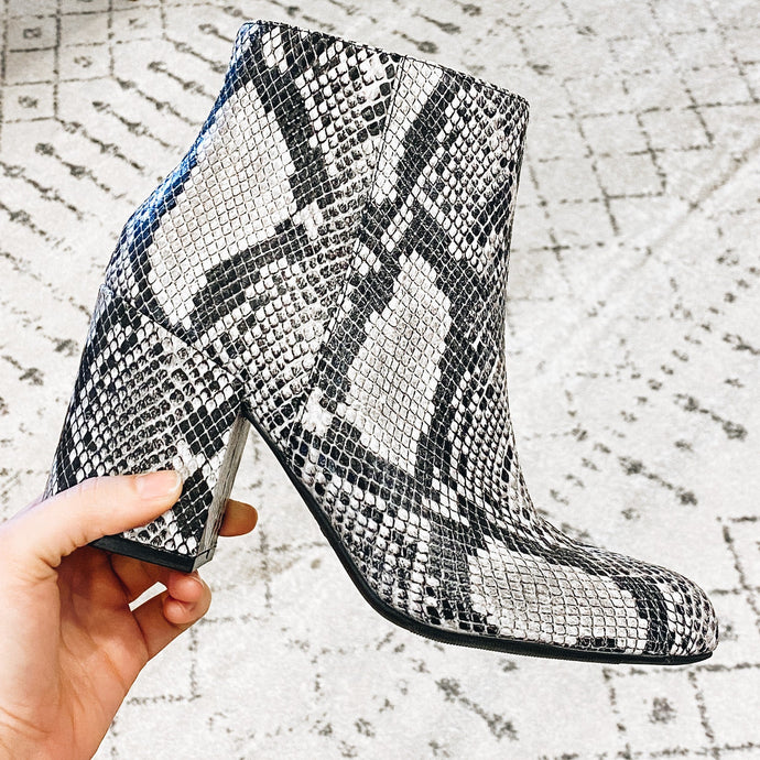 Snake Ankle Bootie