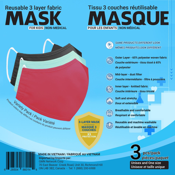 Reusable Mask Assorted - 3 pk Kids