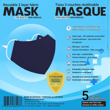 Reusable Mask - 5 PK Adult - 2 colours