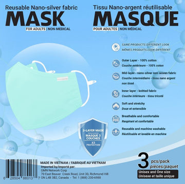 Nano Silver Adult Masks 3 PK - 2 colours