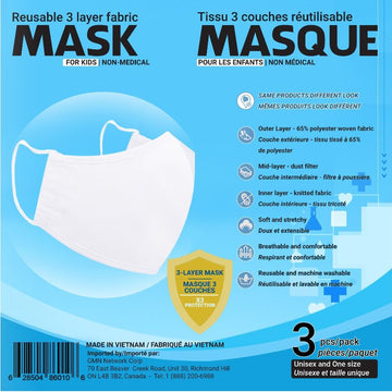 Reusable Mask - 3 PK White Kids