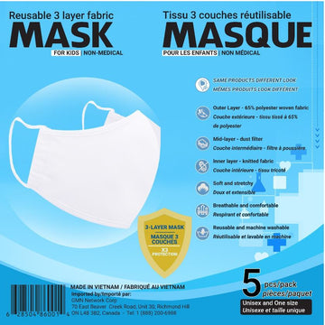 Reusable Mask - 5 PK White Kids O/S