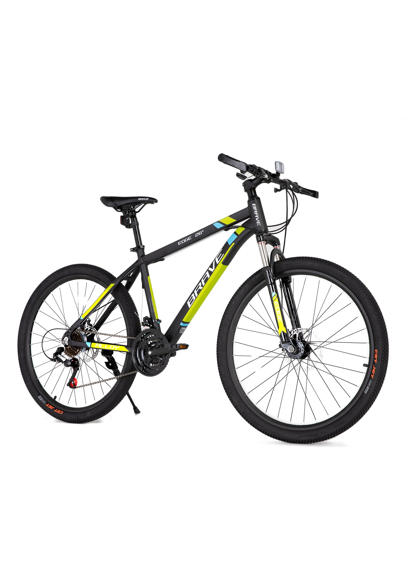 "Brave Edge Alloy Mountain Bike 26""(21-S)-Black/Blue/Green"