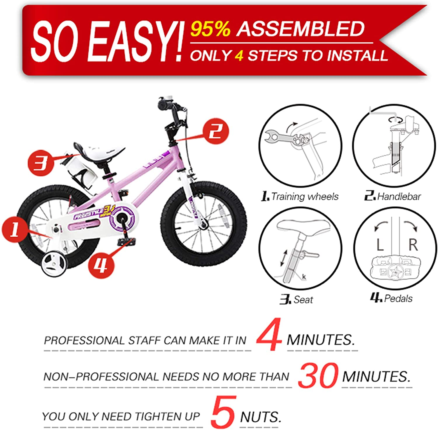 "RoyalBaby BMX Freestyle Kids Bike 20""-Pink"