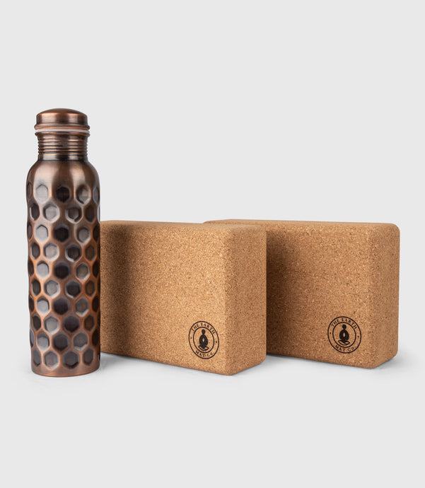 Cork Yoga Block set, 950ml Copper Bottle