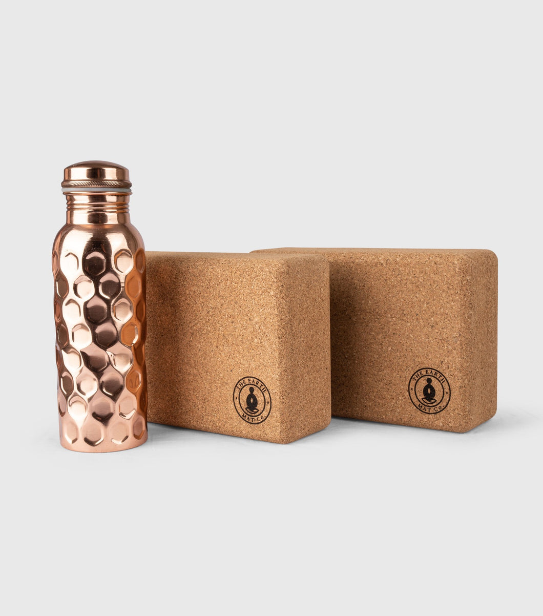 Cork Yoga Block Set, 650ml Copper Bottle