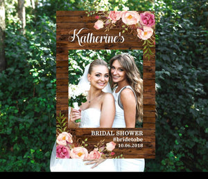 "Photo Booth Frame, Photo Prop, Selfie Frame ""Rustic Flowers Bridal Shower Selfie Frame"""
