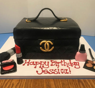 Chanel Purse with diamond makeup large cake
