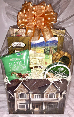 Welcome Home Gift Basket with Gold Bow