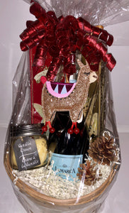 Llama Wine and Candle Gift Basket