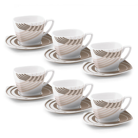 Set tazze da latte o the quadrate con decorazione moderna tortora - Cosmo