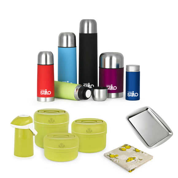 Set thermos acciaio colorati con thermos portavivande verde - Termostilo