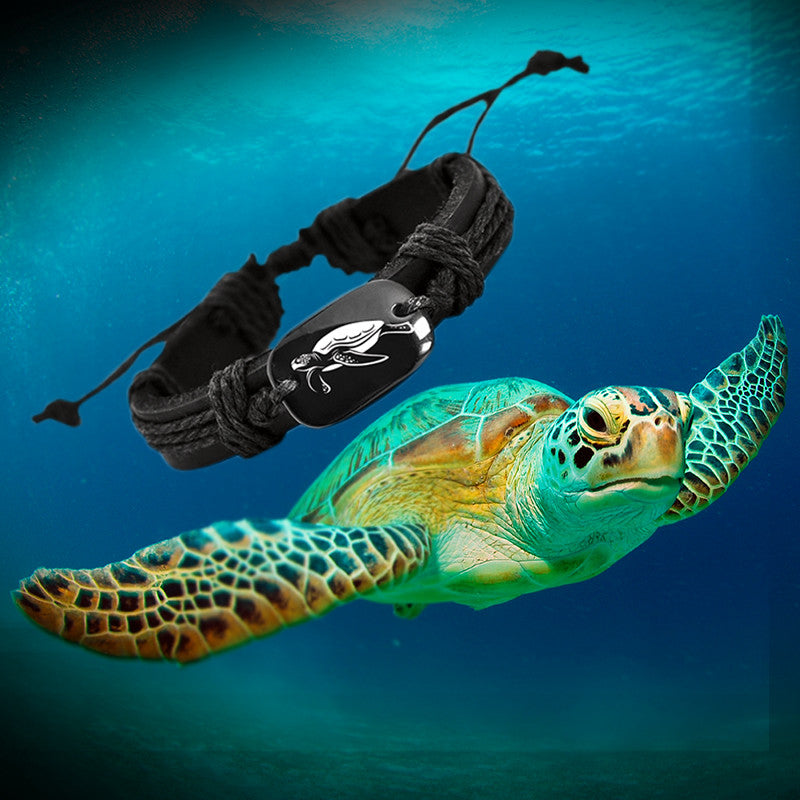 Sea Turtle with leather and leather cord