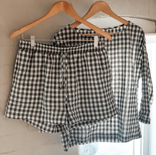 Charcoal Gingham Loungewear Set