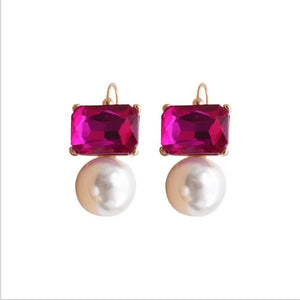 Pearl and stone statement earrings