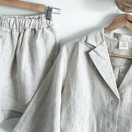 Linen Loungewear Set - Button up (natural)
