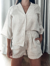 Load image into Gallery viewer, Linen Loungewear Set - Button up (plaid)