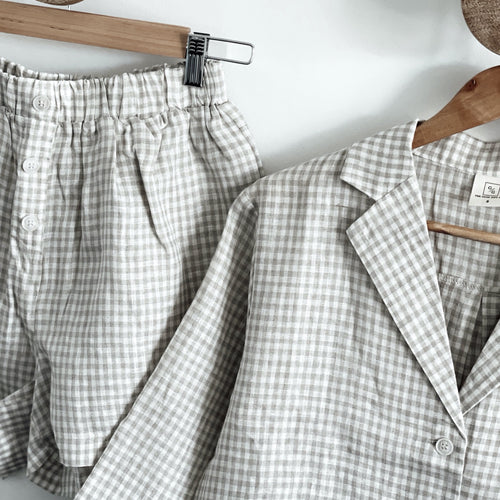 Linen Loungewear Set - Button up (plaid)