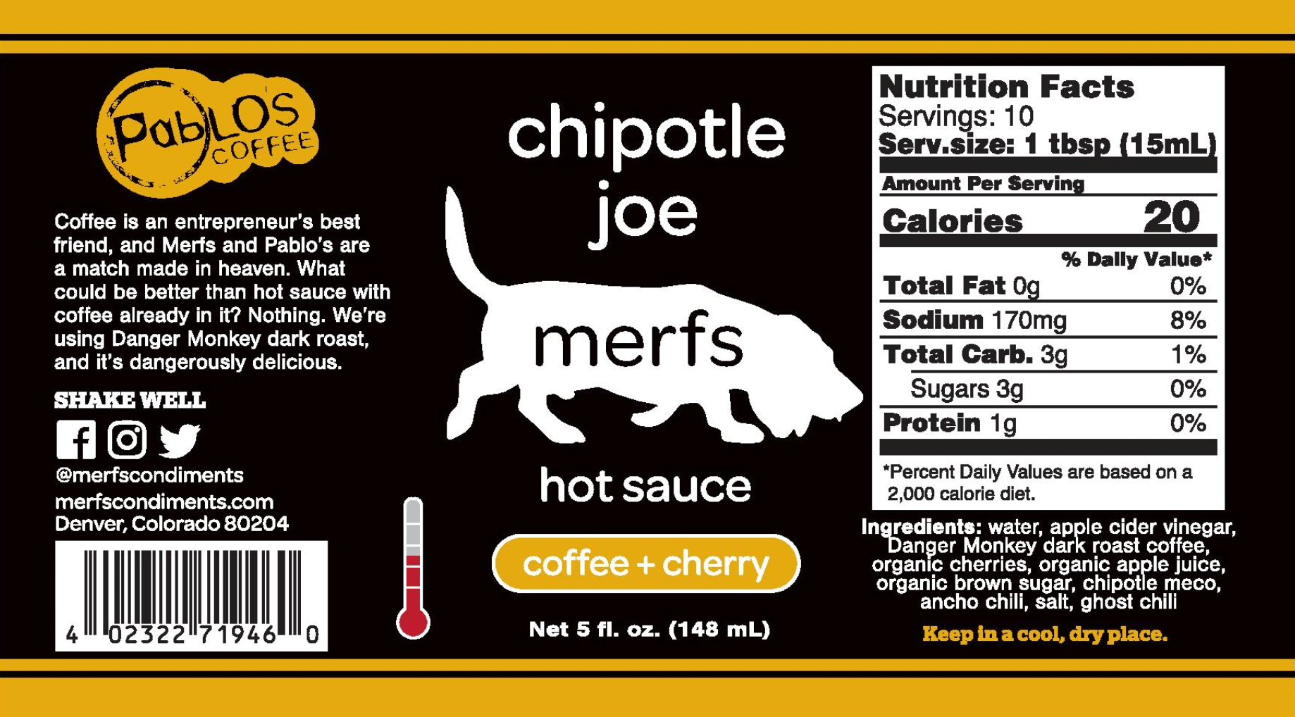 Chipotle Joe Hot Sauce Label and Nutrition Information
