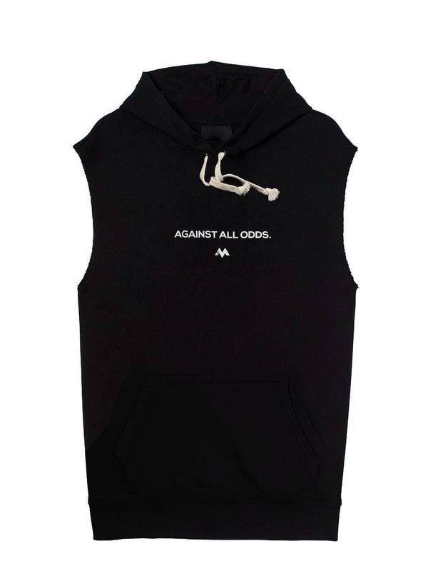 AGAINST ALL ODDS - SLEEVELESS HOODIE BLACK