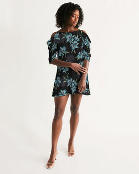 Women's Open Shoulder A-Line Dress - Midnight Flowers