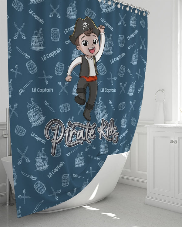Pirate Kids Lil Captain Shower Curtain 72