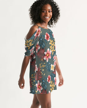 Women's Open Shoulder A-Line Dress - Tropical Green