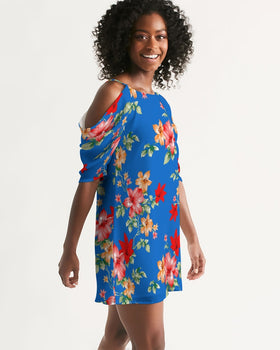 Women's Open Shoulder A-Line Dress - Tropical Blue