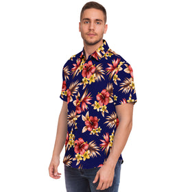 Mia Hibisq Men's HMC Brands Short Sleeve Button Down Shirt