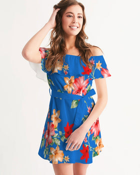Women's Off-Shoulder Dress - Blue-Flow