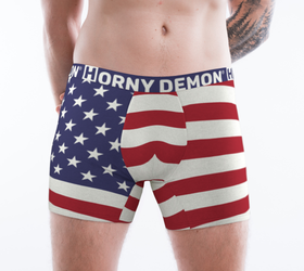 Boxer Briefs - American Flag Horny Demon Men's Underwear