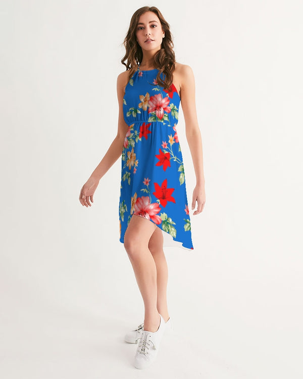 Women's High-Low Halter Dress - Blue Flow - HMC Brands