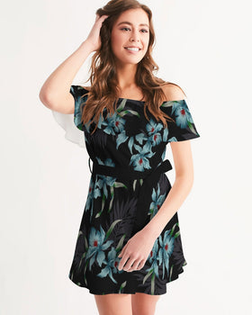 Women's Off-Shoulder Dress - Midnight Flowers