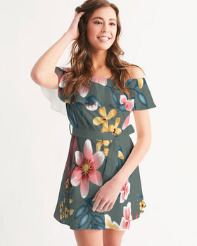 Women's Off-Shoulder Dress - Green Flow