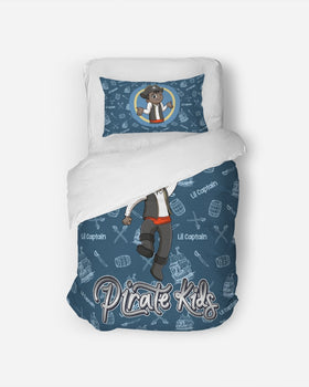 Pirate Kids Lil Captain Twin Duvet Cover Set - BLK