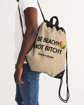 Be Beachy Horny Demon Canvas Drawstring Bag