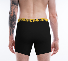 Boxer Briefs - Daddy Black and Yellow Horny Demon Underwear