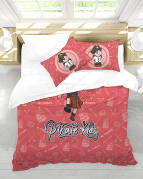 Pirate Kids Ms. Treasure  Queen Duvet Cover Set - WHT
