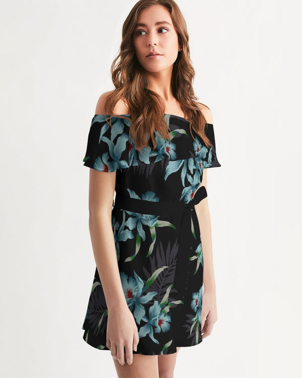 Women's Off-Shoulder Dress - Midnight Flowers - HMC Brands