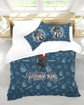 Pirate Kids Lil Captain Queen Duvet Cover Set - BLK