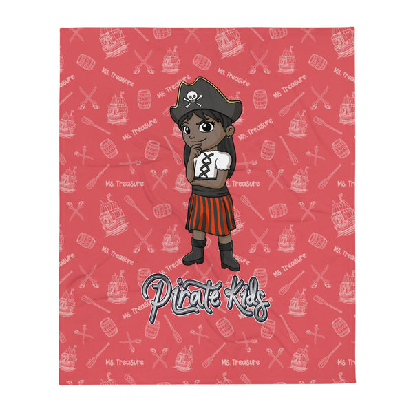 Pirate Kids Ms. Treasure Throw Blanket - BLK - HMC Brands